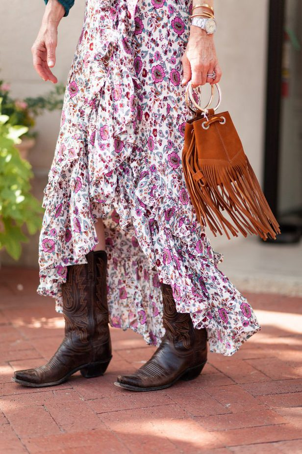 Floral Skirt and Cowboy Boots