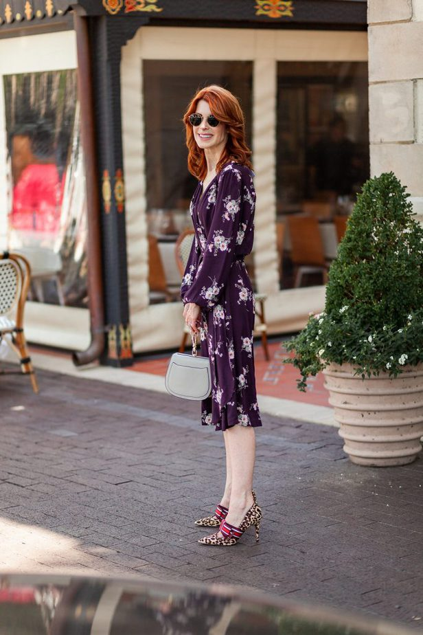 Velvet by Graham & Spencer Purple Wrap Dress with Leopard Shoe