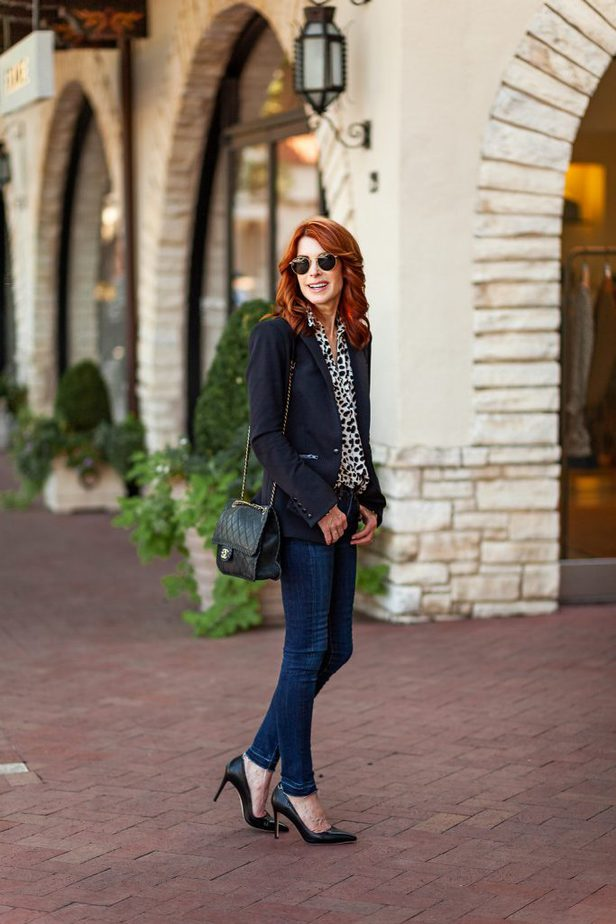 Cathy Williamson is wearing a Classic Black Blazer with Leopard Blouse