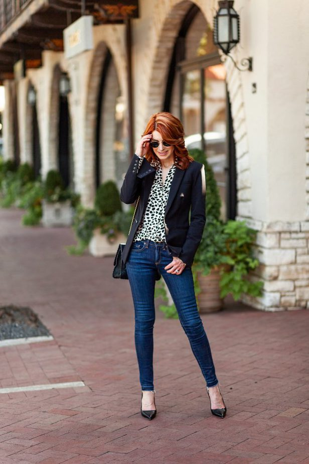 Classic Black Blazer with Leopard Blouse - Cathy Williamson