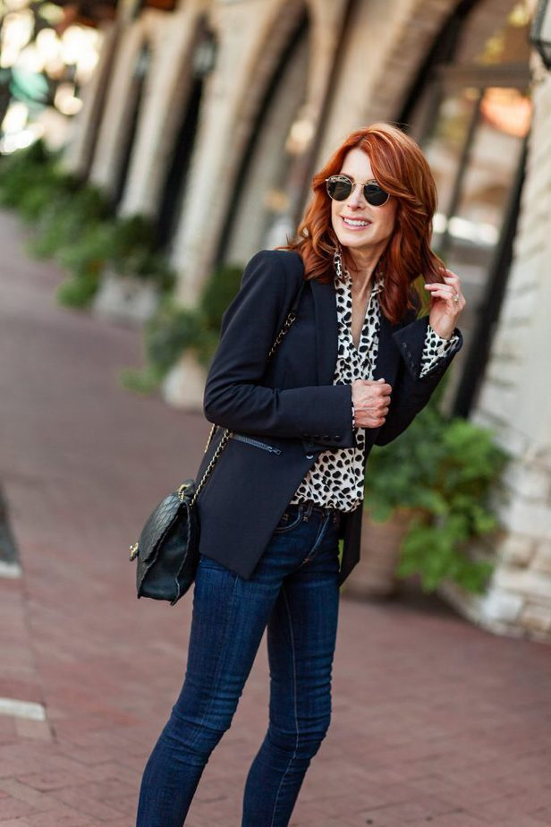 Classic Black Blazer with Leopard Blouse