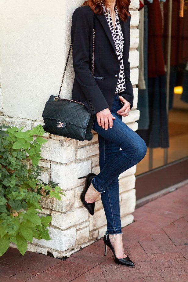 Classic Black Blazer with Leopard Blouse - The Middle Page