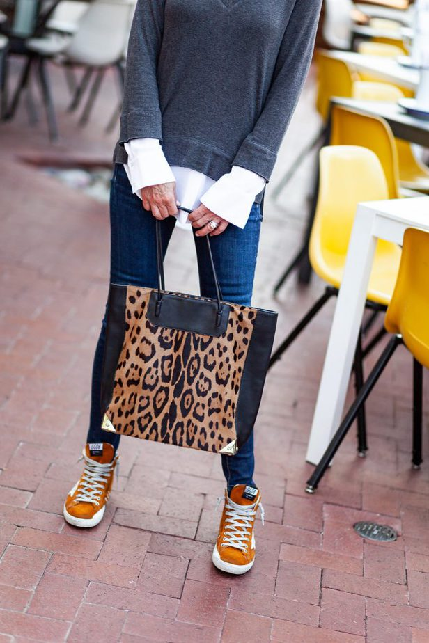 Leopard Tote Bag and Orange Sneakers