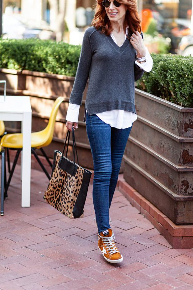 Gray and White Layered Top on The Middle Page Blog