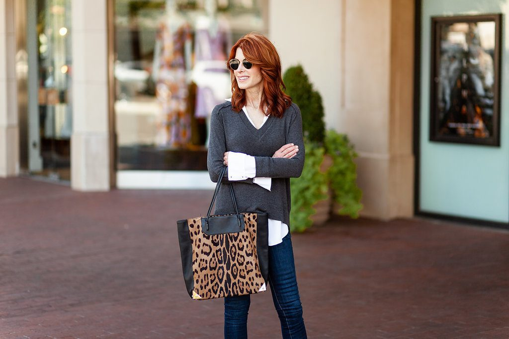 Gray and White Layered Top with Leopard Tote Bag