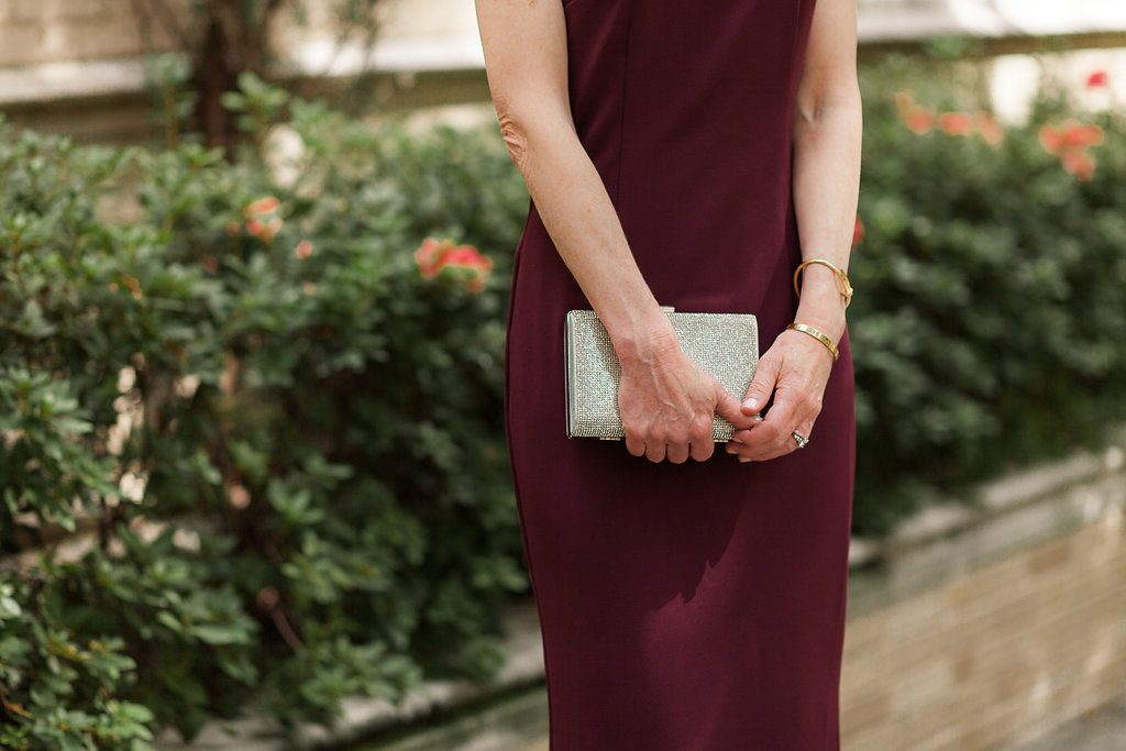Cranberry Color Sheath Dress from David's Bridal