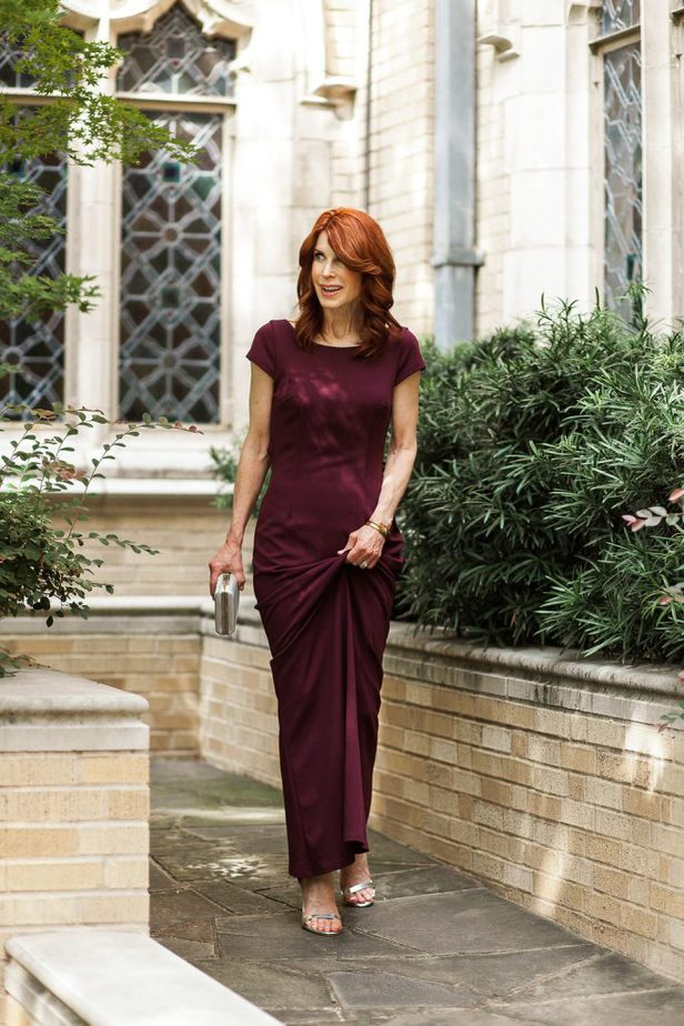Cranberry Sheath Dress from David's Bridal