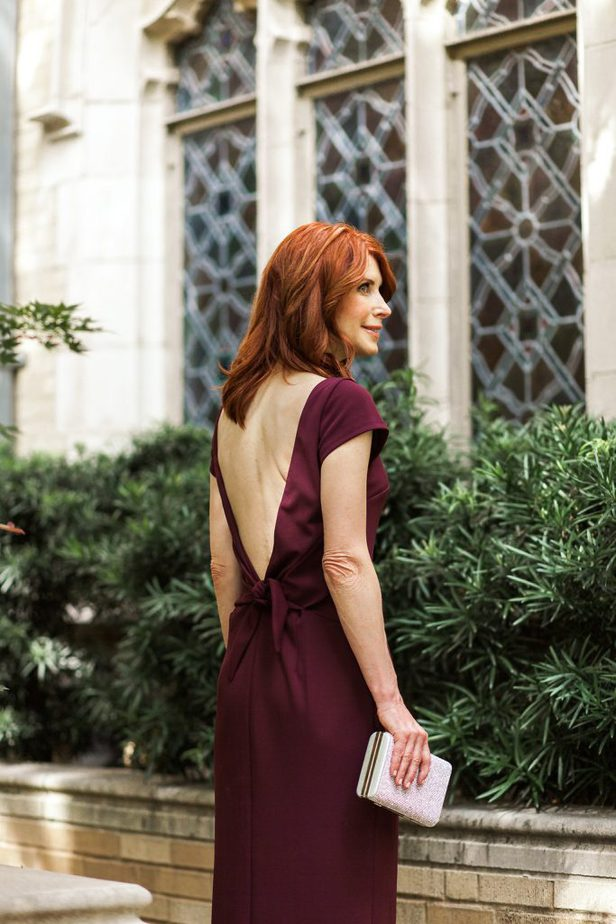 Cranberry Sheath Dress from David's Bridal