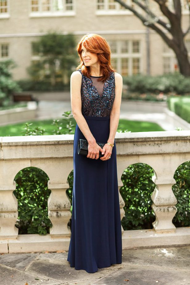 Blue Dress with Sequin Illusion Top from David's Bridal