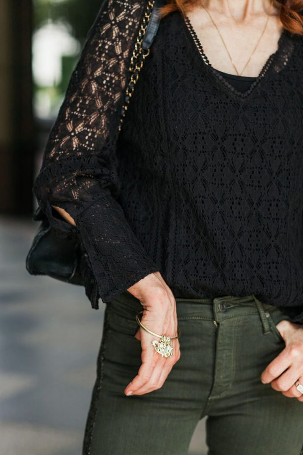 Black Lace Top with Army Green Jeans and Kendra Scott Charm Bracelet