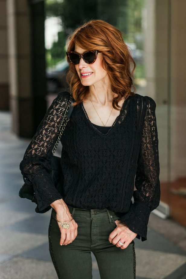 Black Lace Top with Army Green Jeans