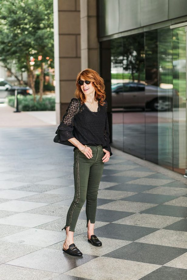 Black Lace Top and Green Jeans with Stripe