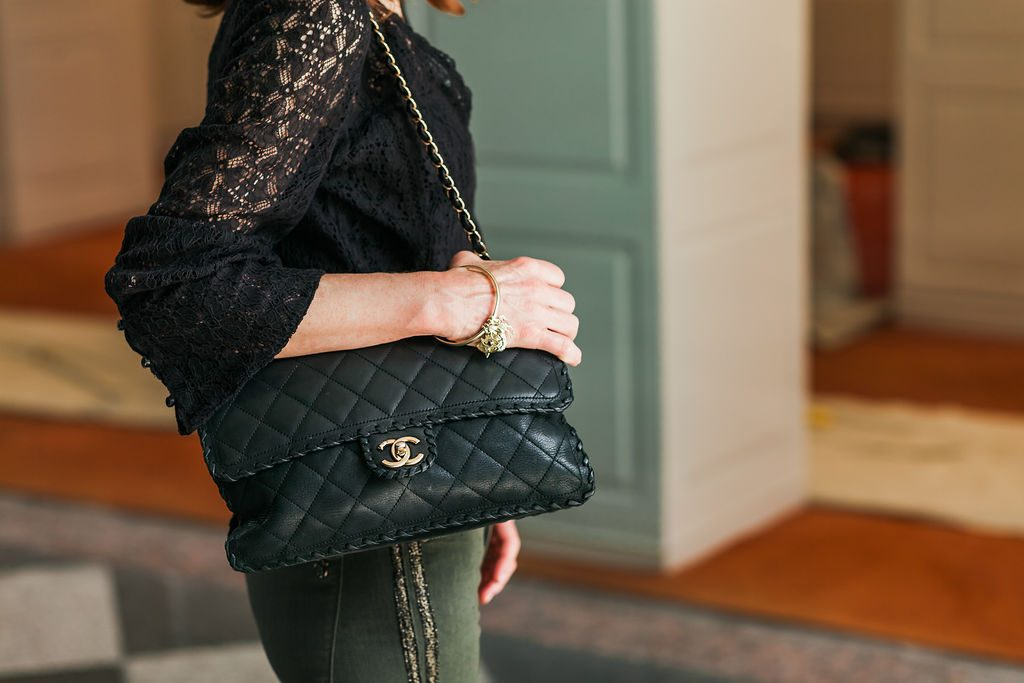 Black Lace top with Black Chanel Bag