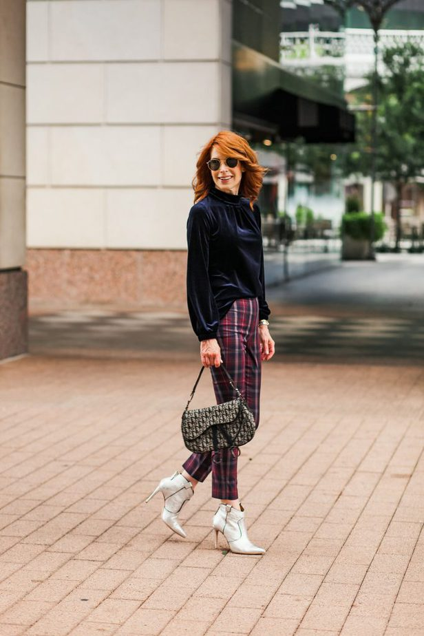 Blue Velvet Mockneck Top from Southcott Threads with Plaid Pants