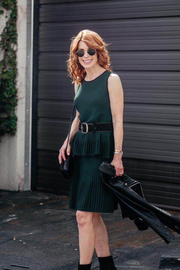 Green peplum top and skirt Ann Taylor
