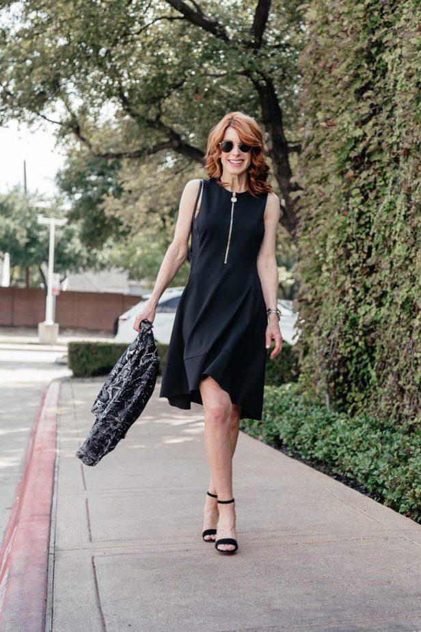Donna Karan zip front LBD with High-Low Hem
