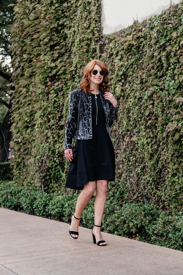 Rebecca Taylor Black and White Snakeprint Velvet Jacket with LBD