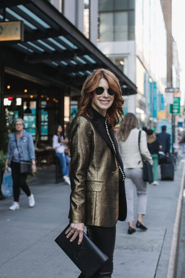 Gold Shimmer Alice and Olivia Blazer with Black Blouse and Pants