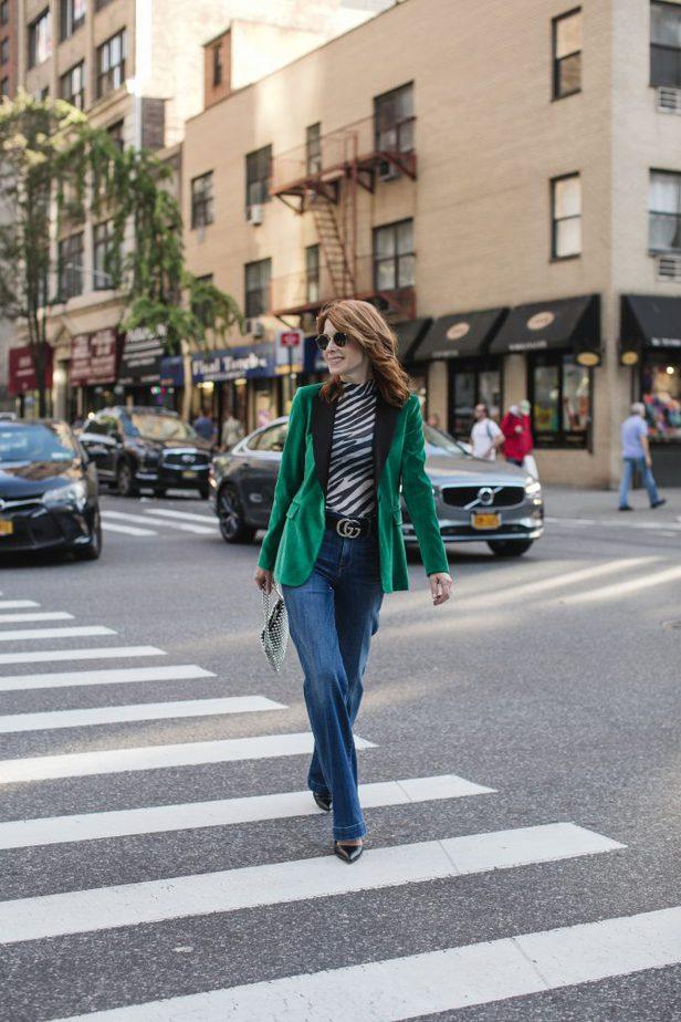 Green Velvet Alice and Olivia Blazer with Topshop Zebra Print Top