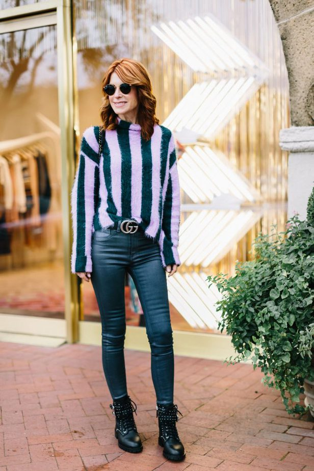 Stripe Sweater and Gray Jeans with Combat Boots