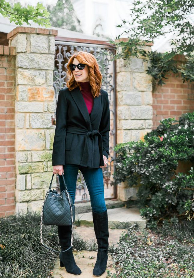 Ann Taylor Black Shawl Collar Wrap Coat