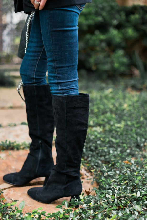 Ann Taylor Black Suede Block Heel Knee Boot