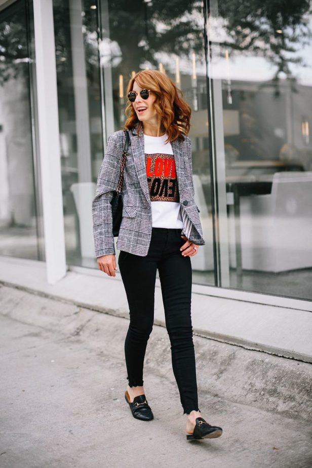 Black Plaid Blazer with Leopard Print Patch
