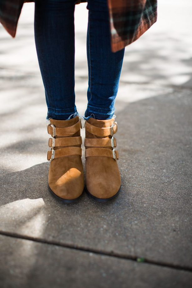 Western Inspired Ankle Bootie with Buckles in Caramel from Taryn Rose