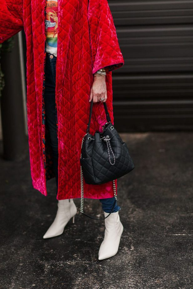 Gorgeous Hot Pink Velvet Quilted Reversible Coat by Roopa