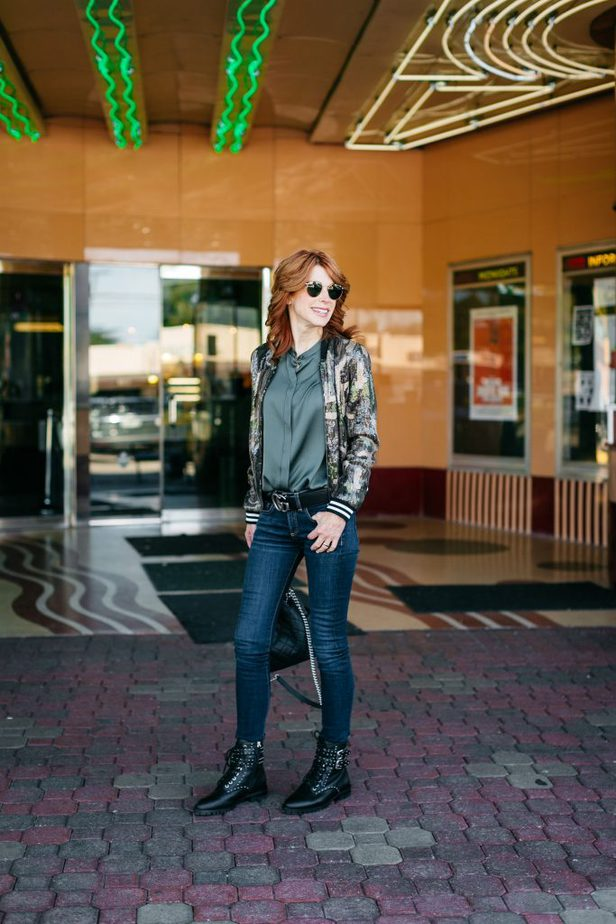 Chic at Every Age Camo Print Sequin Bomber Jacket
