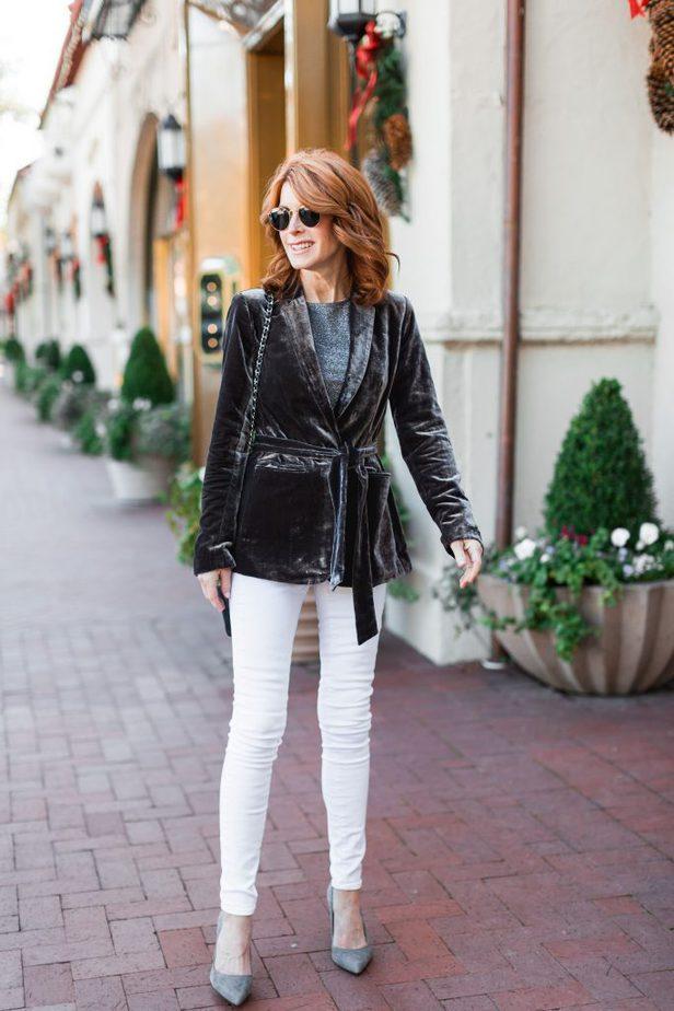 Grey Velvet Tie Robe Blazer with White Jeans from Ann Taylor