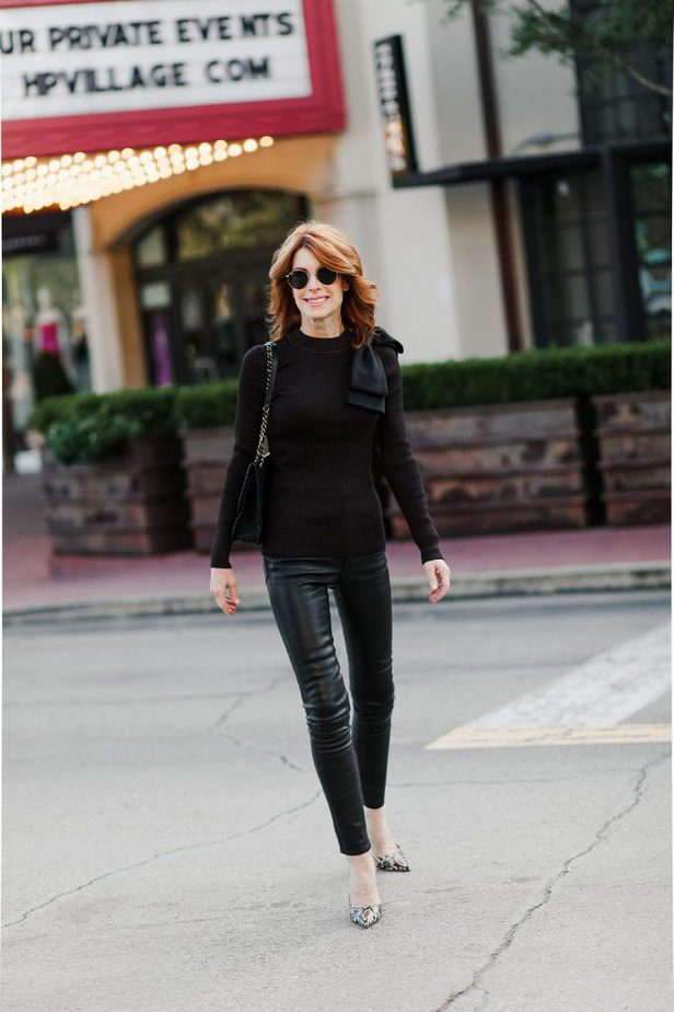 Black leather pants with Brown Bow Sweater