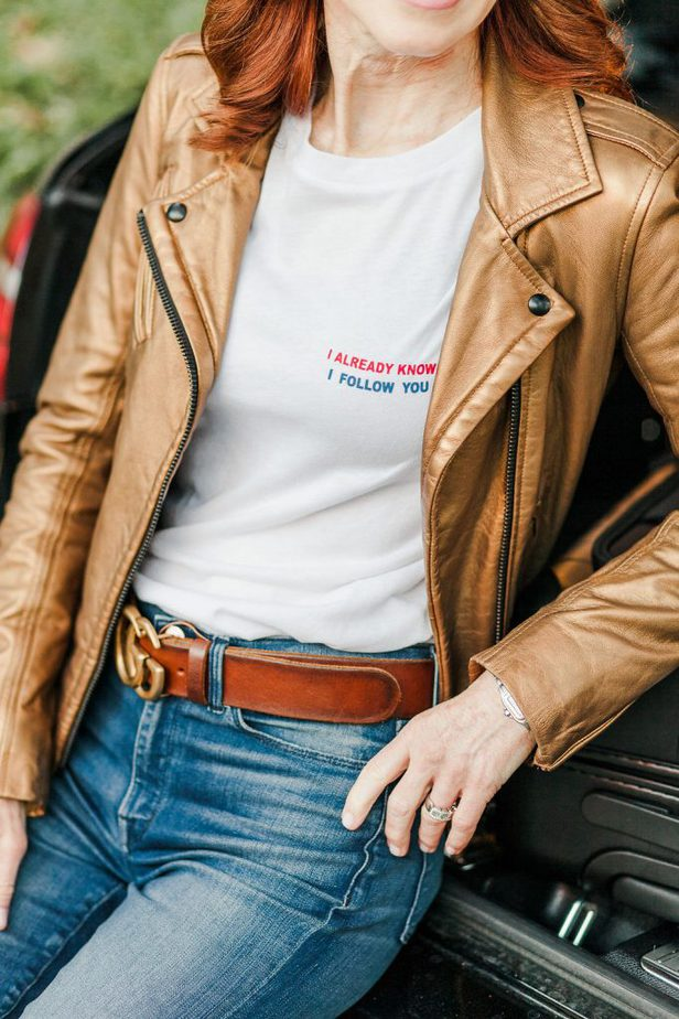 Gold Leather Jacket with I Already Know I Follow You Tee