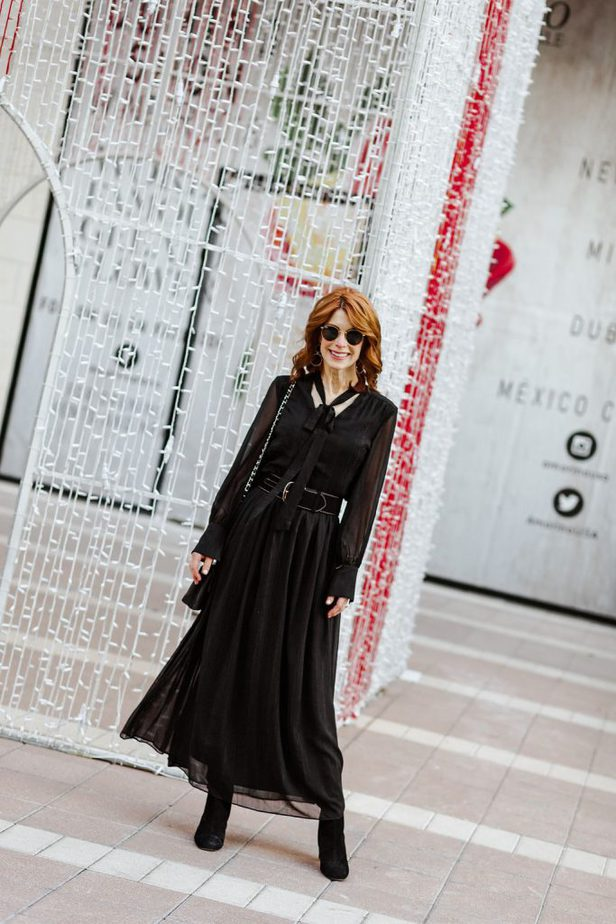 Black maxi dress with lurex and neck tie