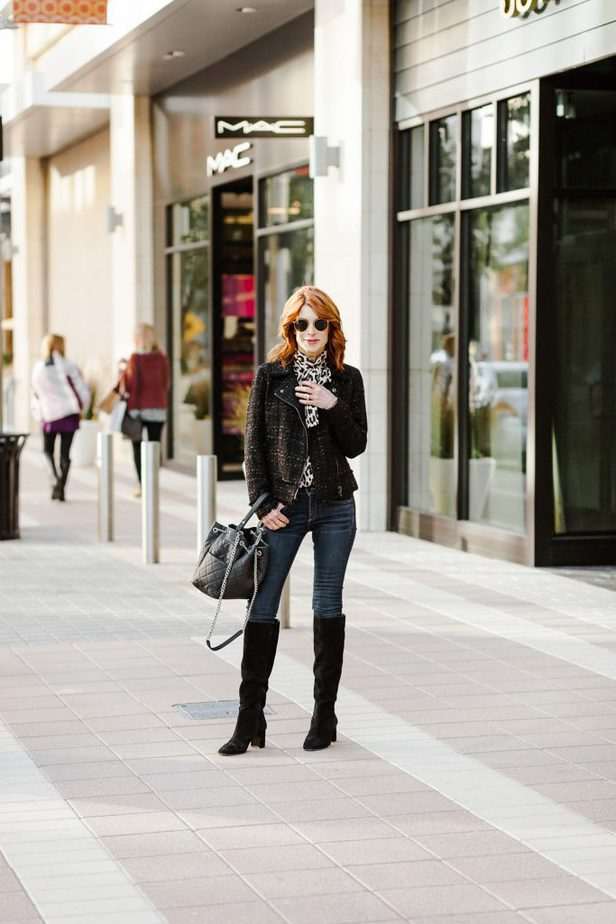 Black Metallic Moto Jacket and Leopard Tie Blouse