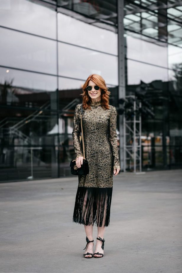 Hunter Metallic Lace Fringe-Hem Dress