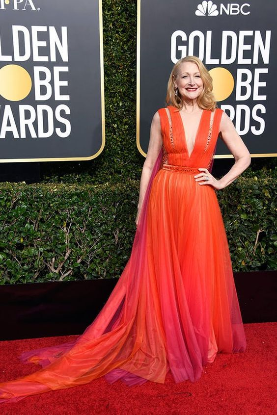 Patricia Clarkson looked lovely in this orange gown.