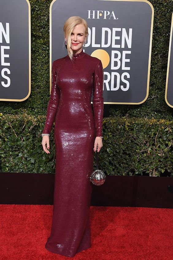 Nicole Kidman looked so sophisticated in this wine color column dress.