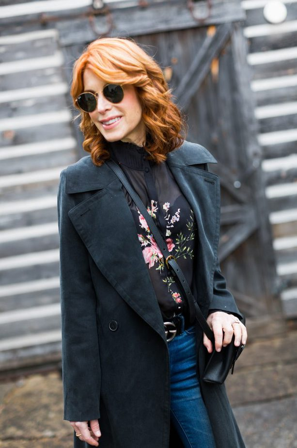 Black trench coat with floral top