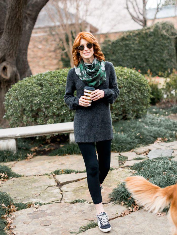 Grey Tunic Sweater and Leggings