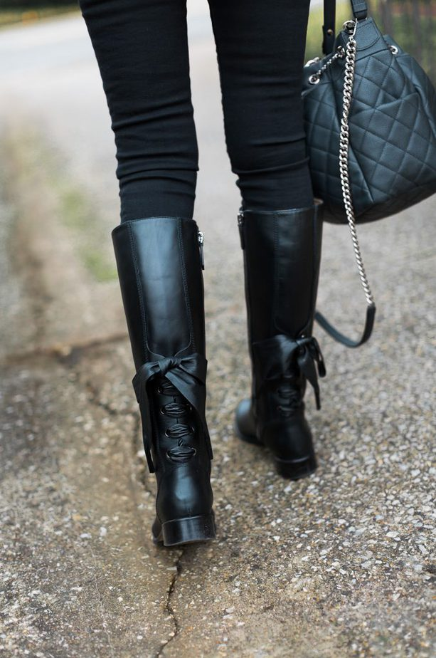 Black Leather Riding Boot With Lace Up Bow Valentino