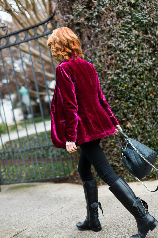Hot Pink Velvet Blazer worn with Black and White Top
