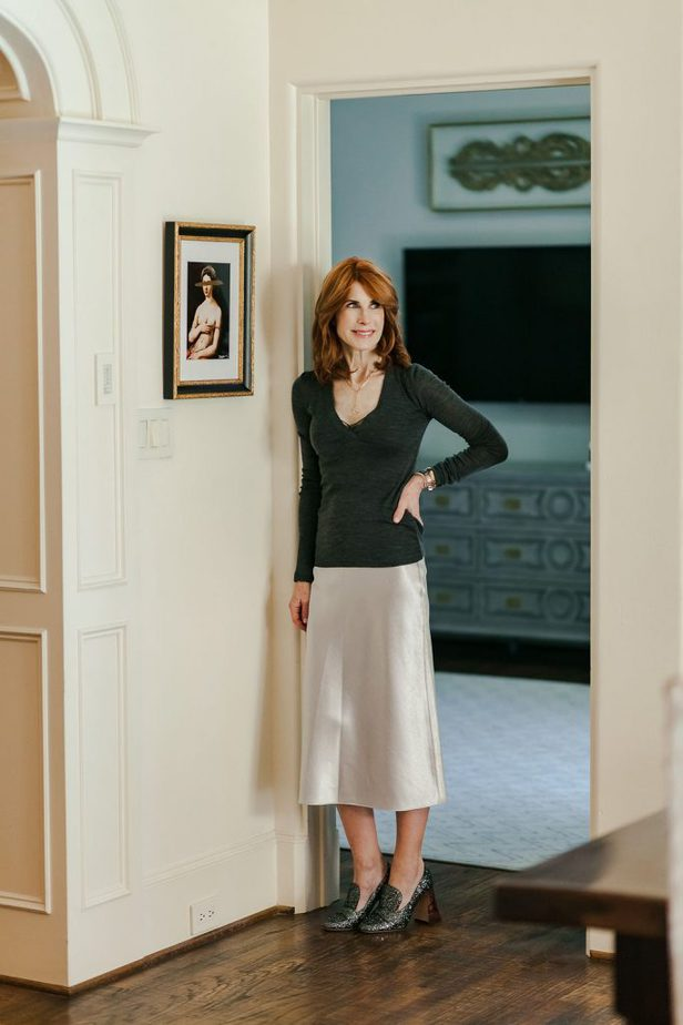 Grey Satin Skirt with Charcoal V-Neck Sweater and Glitter Shoe