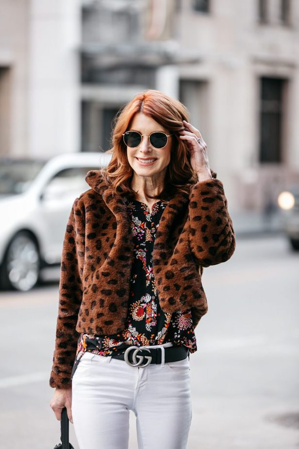 Faux Fur Leopard Cropped Jacket with Floral Shirt and White Jeans