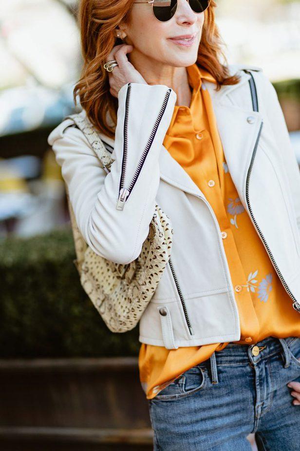 White jacket & orange blouse outfit