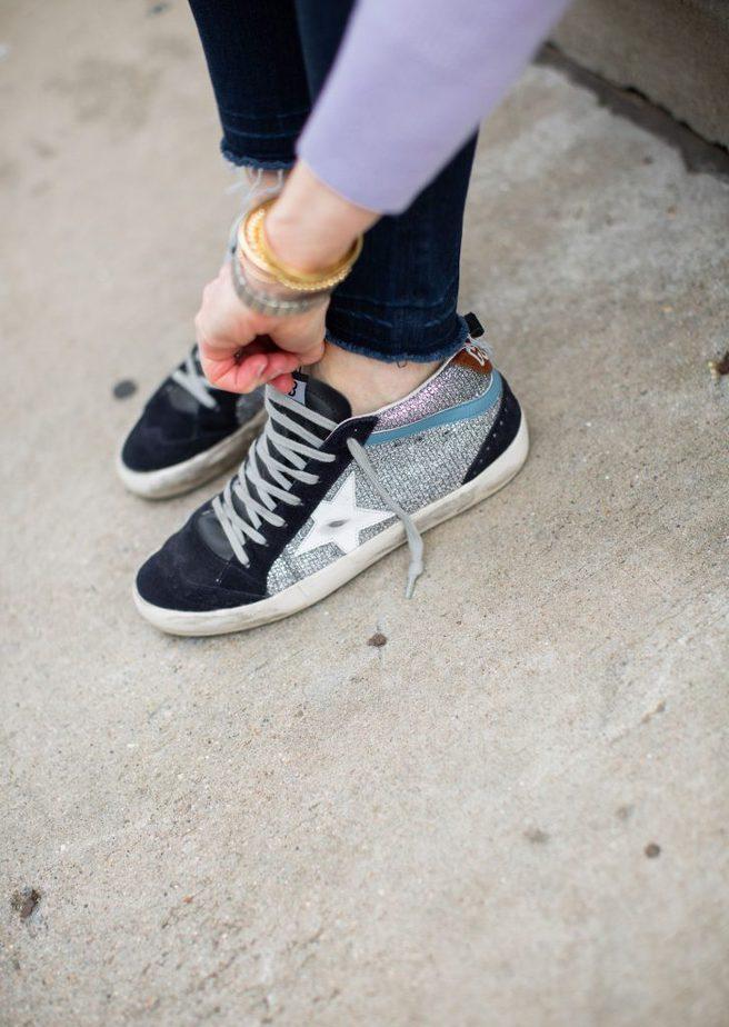 GOLDEN GOOSE Women's Superstar Glitter & Suede Sneakers