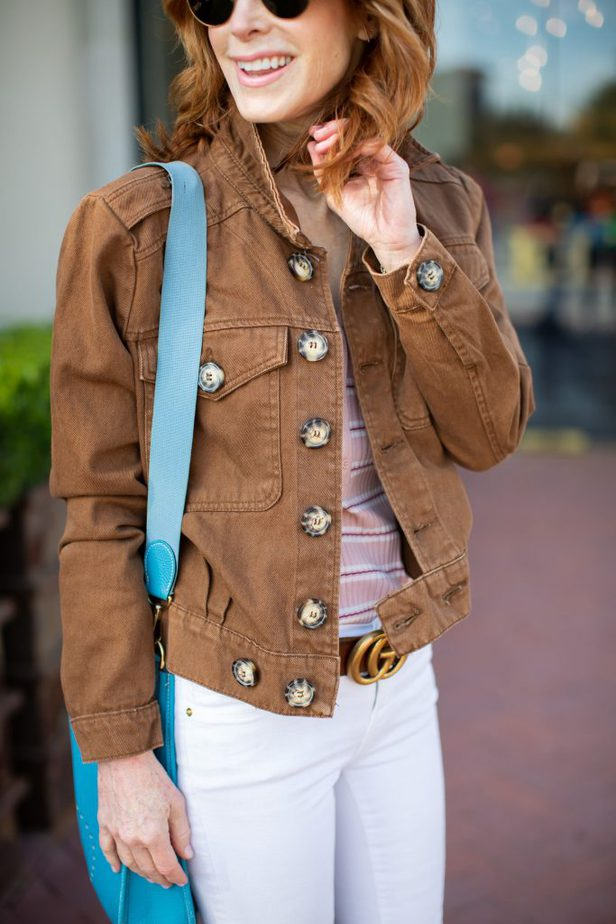 Brown Denim Jacket, White Jeans, and Leopard Booties