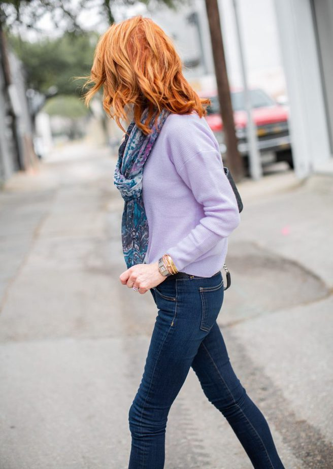 Lavender sweater with blue scarf and jeans