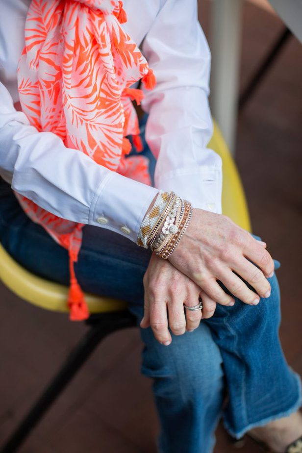 Victoria Emerson Jewelry & White Button Down with Jeans, Orange Scarf and Leopard Mules