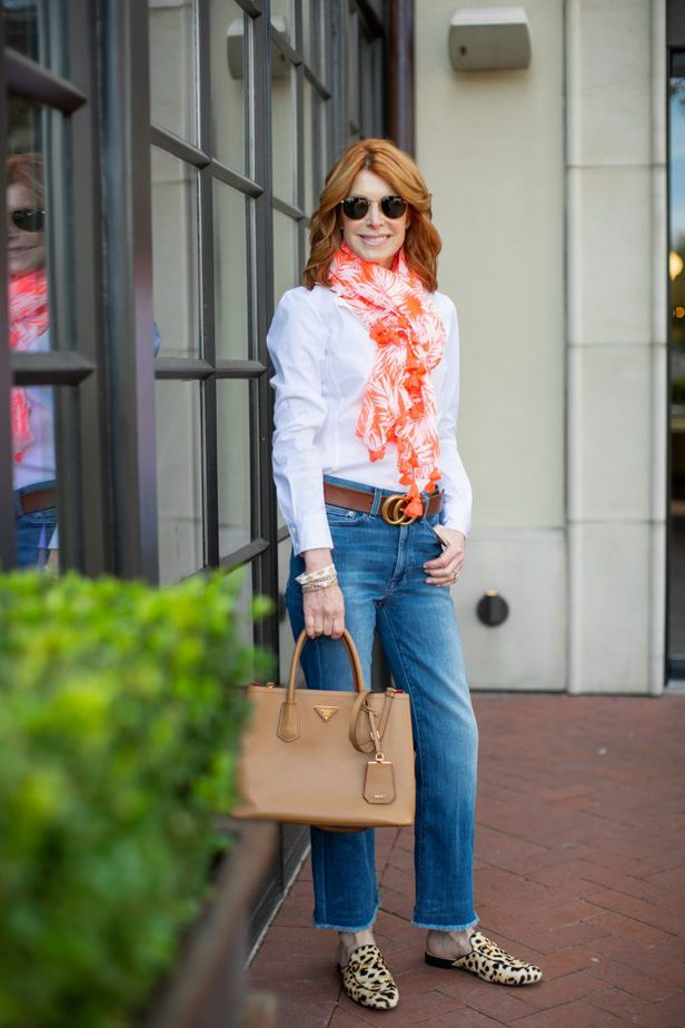 White Button Down with Jeans, Orange Scarf and Leopard Mules